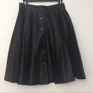 DKNY 100% Silk Pleated Button Down Skirt